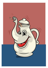 A funny porcelain teapot character in cartoon style. Vector illustration