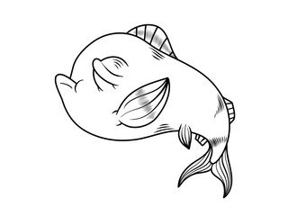 Cartoon style fish drawing in black and white. Vector Illustration