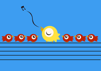 A yellow bird teaching how to sing to other little red birdsover electricy wires. Vector Illustration