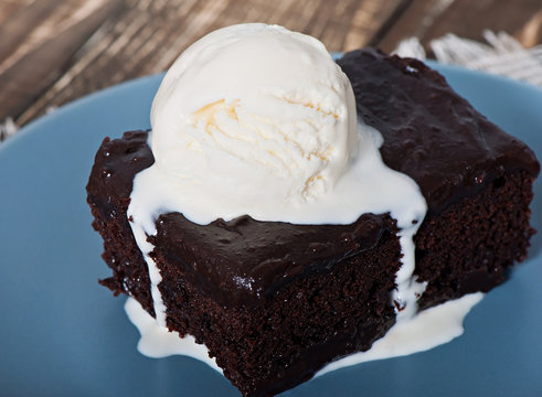 Chocolate pastry with chocolate cream and white ice cream.