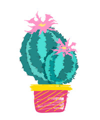 Drawn  cactus with flowers