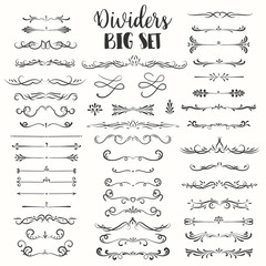 Decorative flourishes. Hand drawn dividers. Vector swirls and decorations Ornate elements