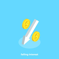 white arrow tending down and a percentage icon, financial growth, isometric image
