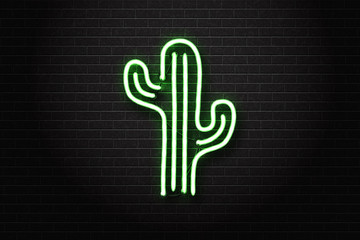 Vector realistic isolated neon sign of cactus for decoration and covering on the wall background.