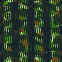 Camouflage seamless pattern. Abstract military fashion colorful urban hexagon style. Seamless pattern for army, navy, hunting, fashion cloth textile. Colorful modern style Vector honeycomb texture.