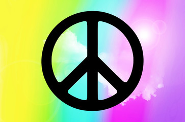 Symbol of Peace on rainbow background