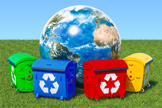 Garbage containers around Earth Globe in green grass against blue sky, 3d rendering