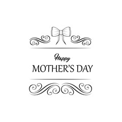 Happy Mothers Day Holiday card. Bow, Swirls. Ornate filigree scroll elements. Vector.