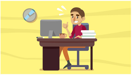 young man is sitting in the office. working situation. vector illustration