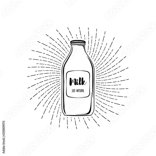 Milk bottle icon  Dairy label  Milk box  Beams  Milk logo