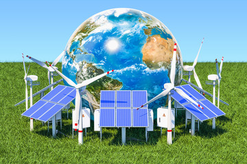 Renewable energy concept. Solar panels and wind turbines around the Earth Globe in the green grass against blue sky, 3d rendering