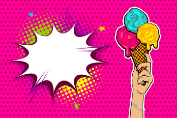 Comic book text Summer hold on. Pop art style halftone background cold sweet cartoon poster. Retro vintage vector illustration. Woman hand hold Ice Cream colorful banner food. Speech bubble.