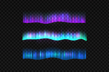 Vector realistic isolated northern aurora lights borders for decoration and covering on the transparent background.