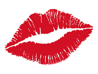Kiss. Female lips. Vector illustration