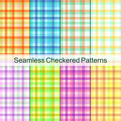 Checkered geometric colorful seamless pattern set. Cute bright abstract frame. Plaid texture background ornament for design or fabric textile. Vector spring summer style.