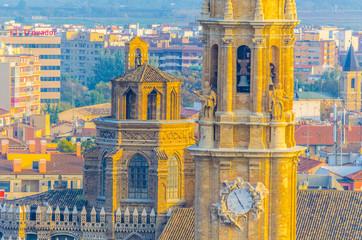 Aerial view of the catedral del salvador de zaragoza in Zaragoza, Spain