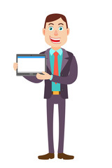 Businessman holding tablet PC with two hands