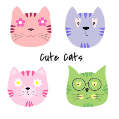Set cute cats cartoon vector illustration.