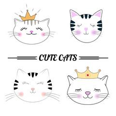 Set cute cats cartoon vector illustration.