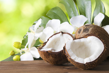 coconut open to natural on wooden bottom Wall mural