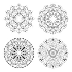 Calligraphic circle lace patterns in monochrome design. Embroidery template. Delicate filigree geometric patterns.