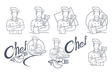 Set of Chef cook logo. Cook in uniform. Chef concept.