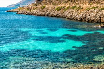 View of Cala Fredda beach on the Levanzo island in the Mediterranean sea of Sicily, Trapani, Itay