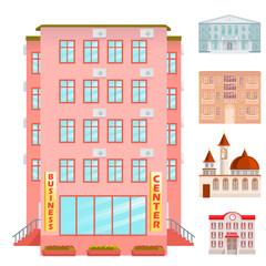 City public buildings houses flat design office architecture modern street apartment vector illustration.