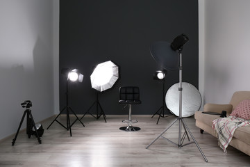 Photo studio with professional equipment