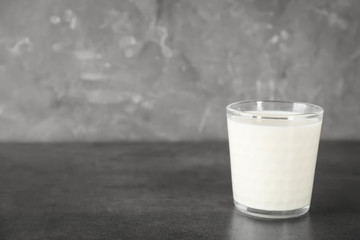 Glass of milk on table. Fresh dairy product