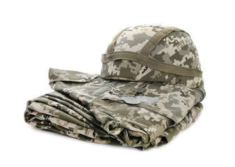 Military clothes on white background