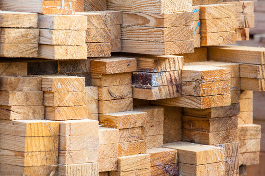 a stack of sawn timber, background texture