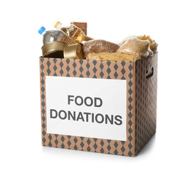 Donation box with food on white background