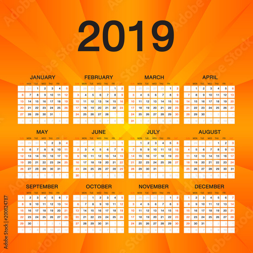 Simple Calendar For  Year Week Starts Sunday Orange Flyer