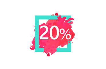 20 Percent Discount Number Water Color Frame