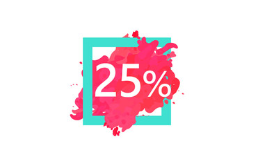 25 Percent Discount Number Water Color Frame