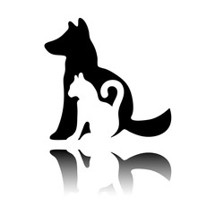 cat and dog icon. Black icon with mirror reflection on white background