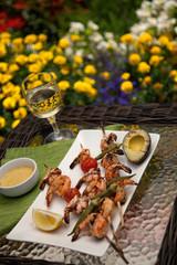 Grilled Shrimps Skewers for Dinner in Garden
