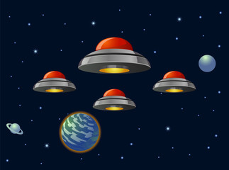 Alien space ship fleet vector image