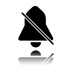 silent bell. simple icon. Black icon with mirror reflection on white background