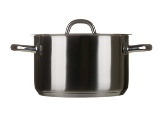 Stainless steel cooking pot with lid isolated on white