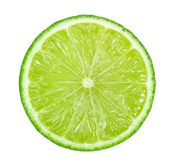 Juicy slice of lime isolated on white background