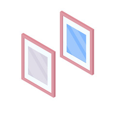Isometric mirror in wooden frame isolated on white background. Two wall mirrors with blurry reflection vector cartoon illustration.