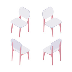 Group of isometric white chairs isolated on white background. Collection of chairs for office, bar and house vector cartoon illustration.