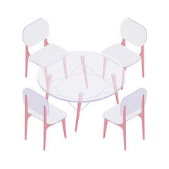 Isometric four plastic chairs and transparent round table isolated on white background. Glass table with set of chairs for the kitchen, room or restaurant interior vector cartoon illustration.
