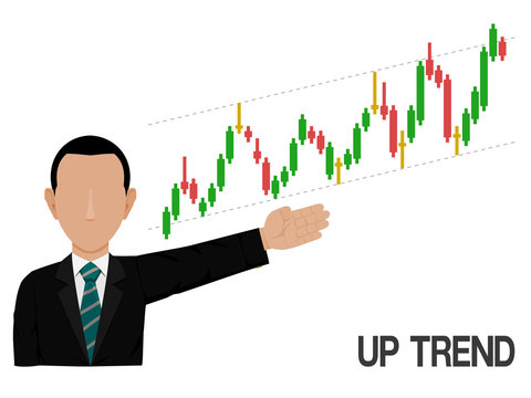 An investor is presenting up trend of stock chart