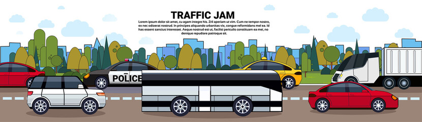 Traffic Jam Poster With Cars And Bus On Road Over City Buildings Background Flat Vector Illustration