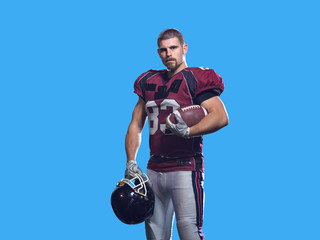 American Football Player isolated on colorfull background
