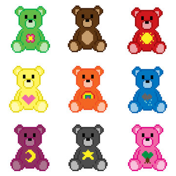 pixel art vector art teddy bears with icons/symbols set