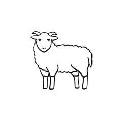 Goat hand drawn outline doodle icon. Ram vector sketch illustration for print, web, mobile and infographics isolated on white background.